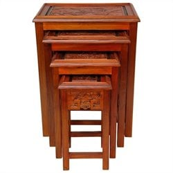 Oriental Furniture Nested Tables in Honey