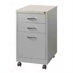 Hirsh SOHO 3 Drawer Filing Cabinet in Platinum