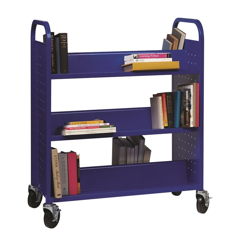 Hirsh Double-Sided Book Cart in Blue