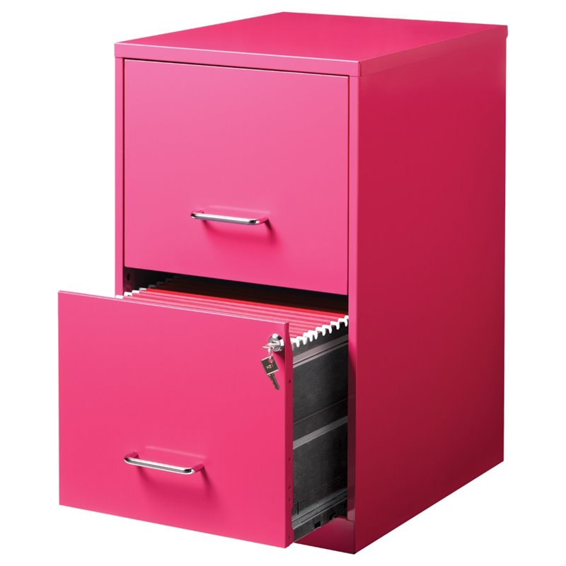 Value Pack (Set of 2) Drawer File Cabinet in Black and Pink
