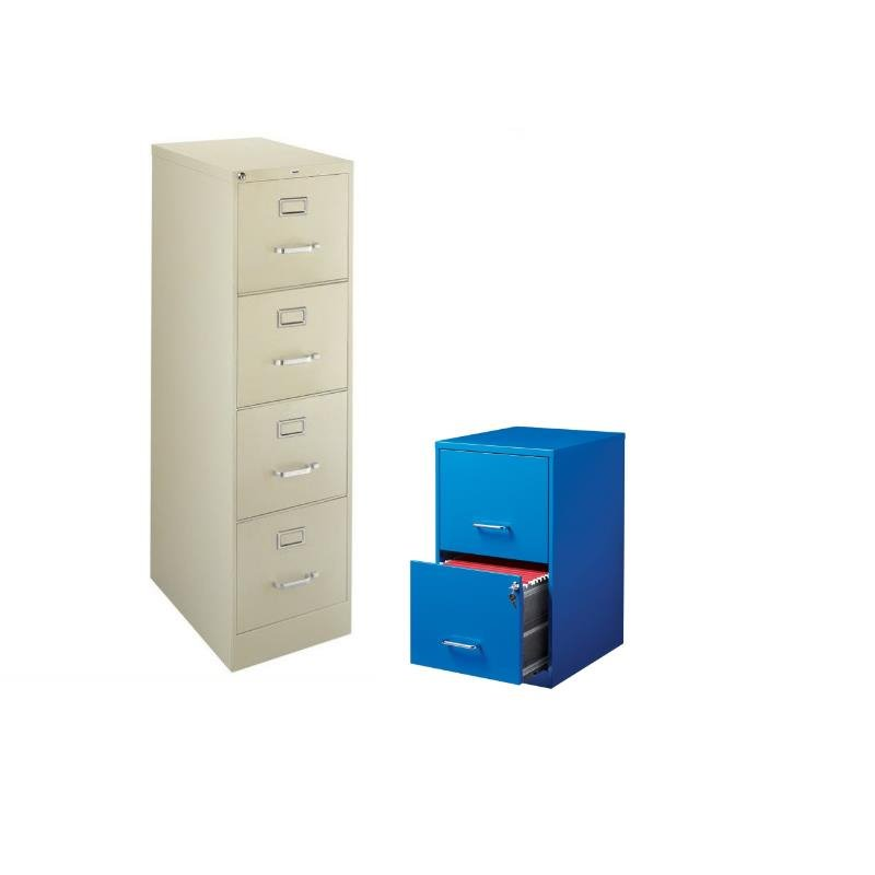 2 Piece Value Pack 4 and 2 Drawer Filing Cabinet in Putty and Blue