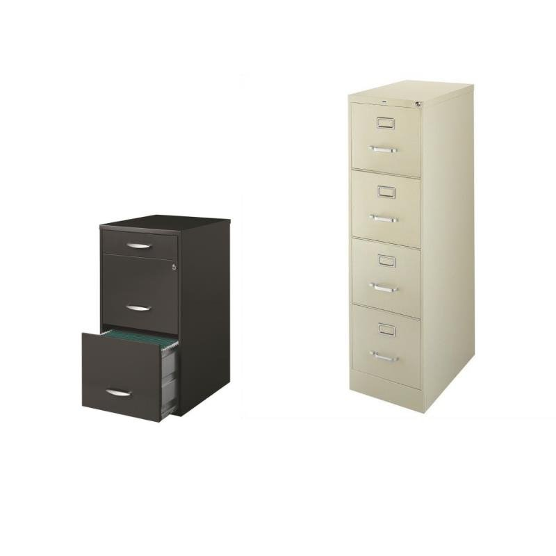 2 Piece Value Pack 4 and 3 Drawer Filing Cabinet in Putty and Charcoal