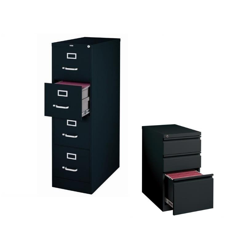2 Piece Value Pack Black Vertical 4 and 3 Drawer Mobile Filing Cabinet