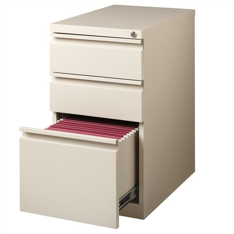 Set of 2 Value Pack Mobile 2 and 3 Drawer Filing Cabinets in Putty