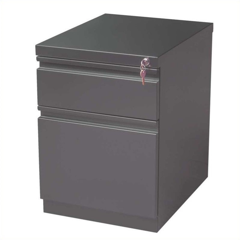 2 Piece Value Pack Mobile Filing Cabinet in Charcoal and Black