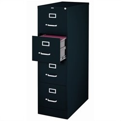Hirsh Industries 2500 Series 4 Drawer Letter File Cabinet in Black