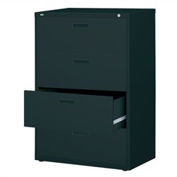 Hirsh Industries 1000 Series 4 Drawer Lateral File Cabinet in Black