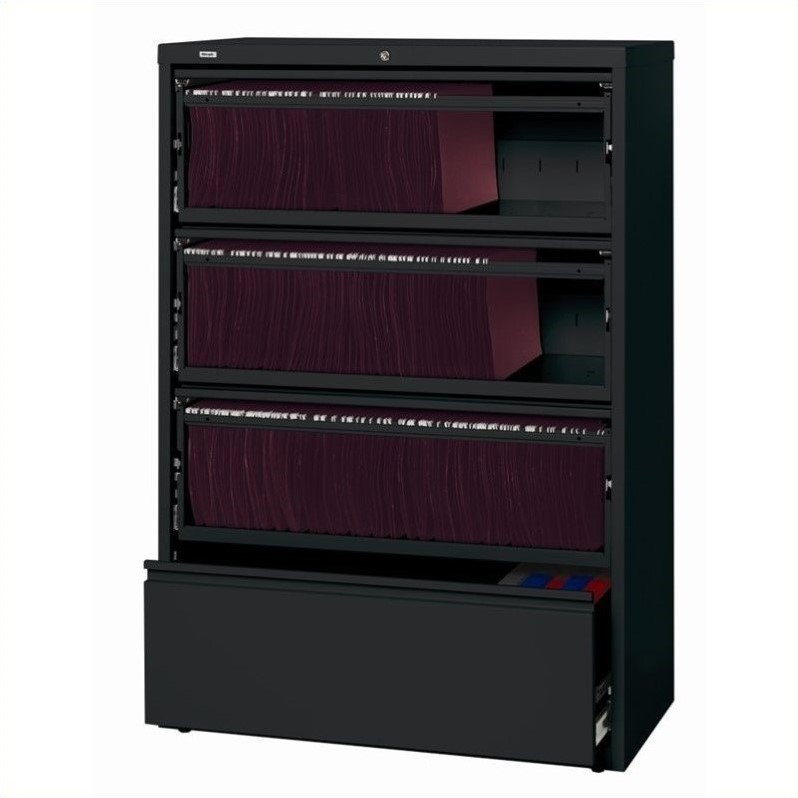 Hirsh Industries 10000 Series 4 Drawer Lateral File Cabinet File in Black
