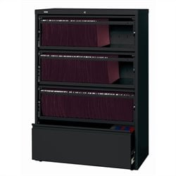 Hirsh Industries LLC 10000 Series Lateral Receding 4 Drawer File Cabinet File in Black