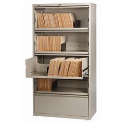 Hirsh Industries LLC 10000 Series Lateral Receding 5 Drawer File Cabinet File in Putty