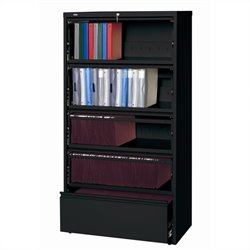 Hirsh Industries LLC 10000 Series Lateral Receding 5 Drawer File Cabinet File in Black