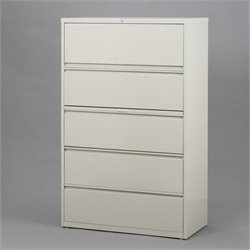 Hirsh Industries 10000 Series 5 Drawer Lateral File Cabinet in Putty