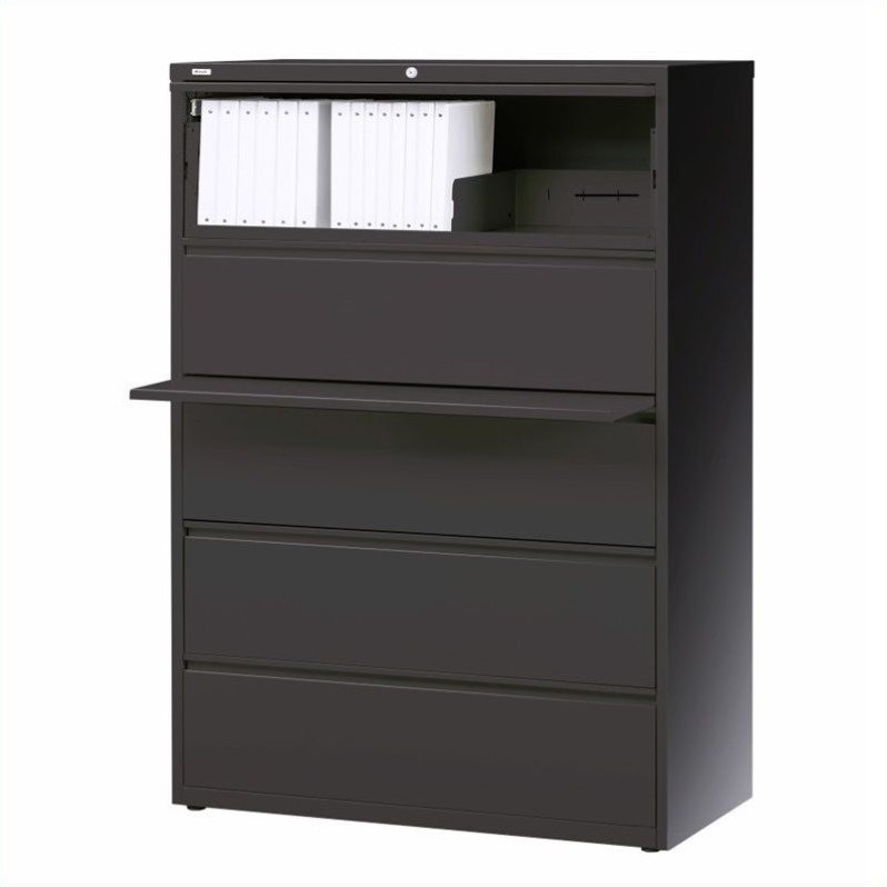 Hirsh Industries 10000 Series 5 Drawer Lateral File Cabinet in Charcoal
