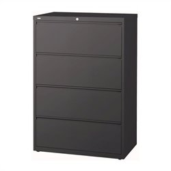 Hirsh Industries 10000 Series 4 Drawer Lateral File Cabinet in Charcoal