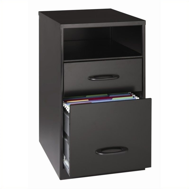 2 Drawer File Cabinet In Black 18505