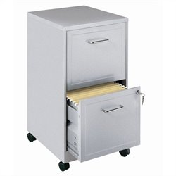 Hirsh Industries SOHO Mobile 2 Drawer File Cabinet in Silver