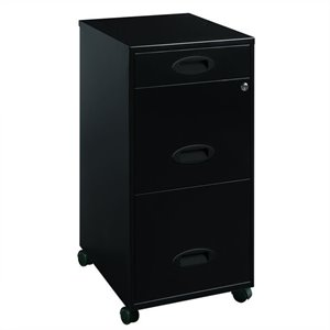 Mobile 3 Drawer File Cabinet in Black