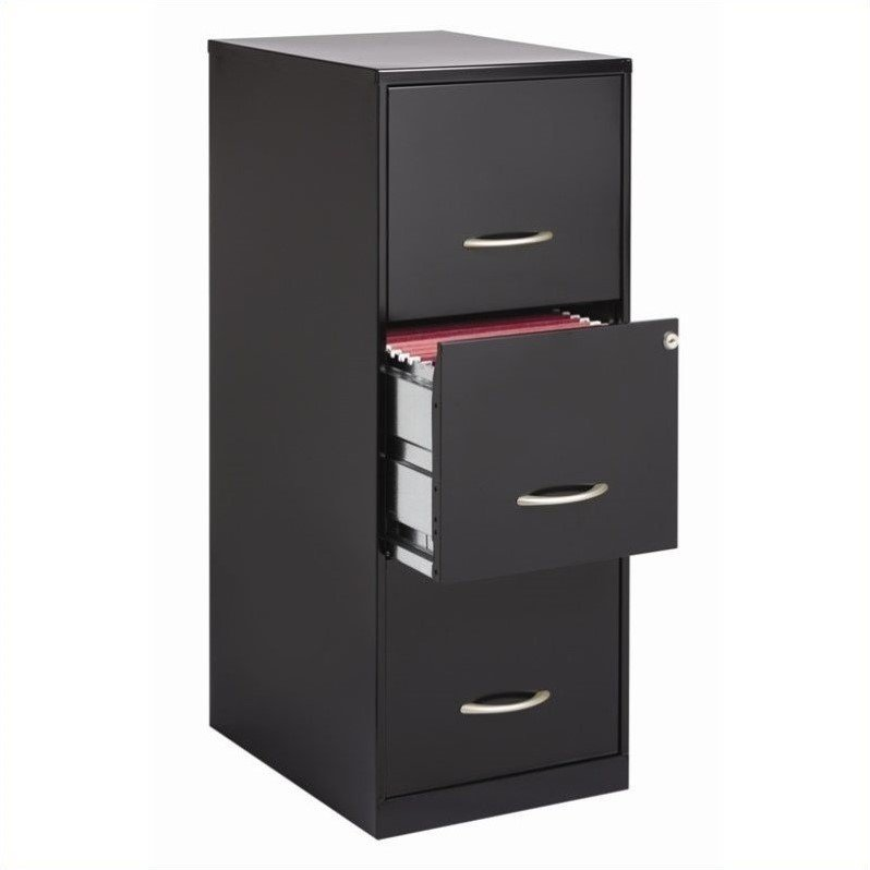 Hirsh Industries SOHO 3 Drawer Letter File Cabinet in Black
