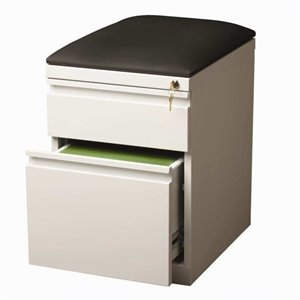 Mobile Seat Box-File Cabinet in White