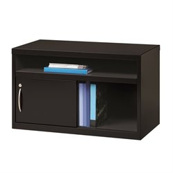 Low Credenza File Cabinet with Door in Black
