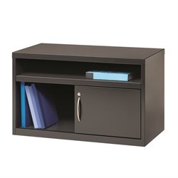 Low Credenza File Cabinet with Door in Charcoal