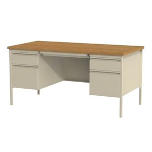 Double Pedestal Computer Desk in Putty and Oak