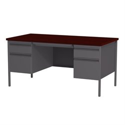 Double Pedestal Computer Desk in Charcoal and Mahogany