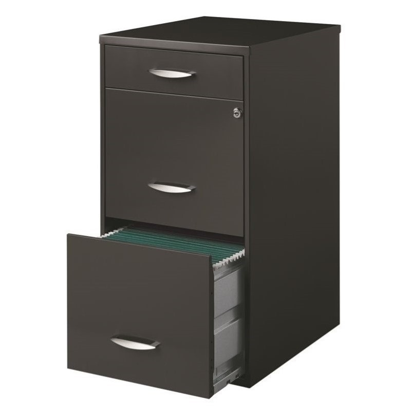 3 Drawer File Cabinet In Charcoal 20205