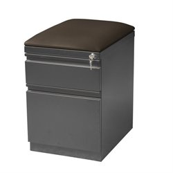 Hirsh 2 Drawer Mobile File Cabinet with Seat in Charcoal