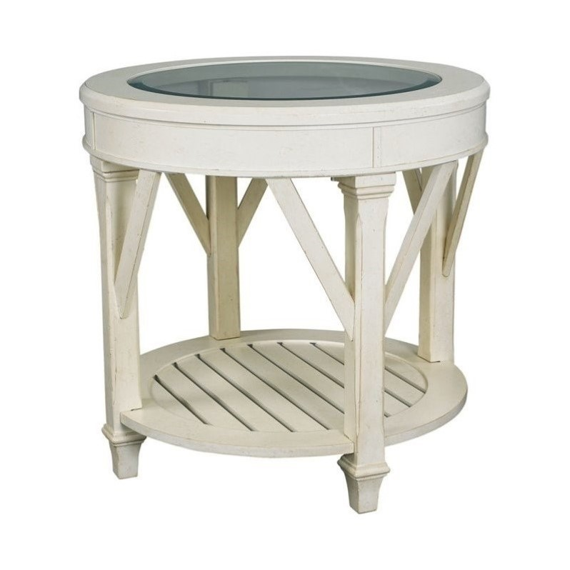 Hammary Promenade Round End Table in Antique Linen