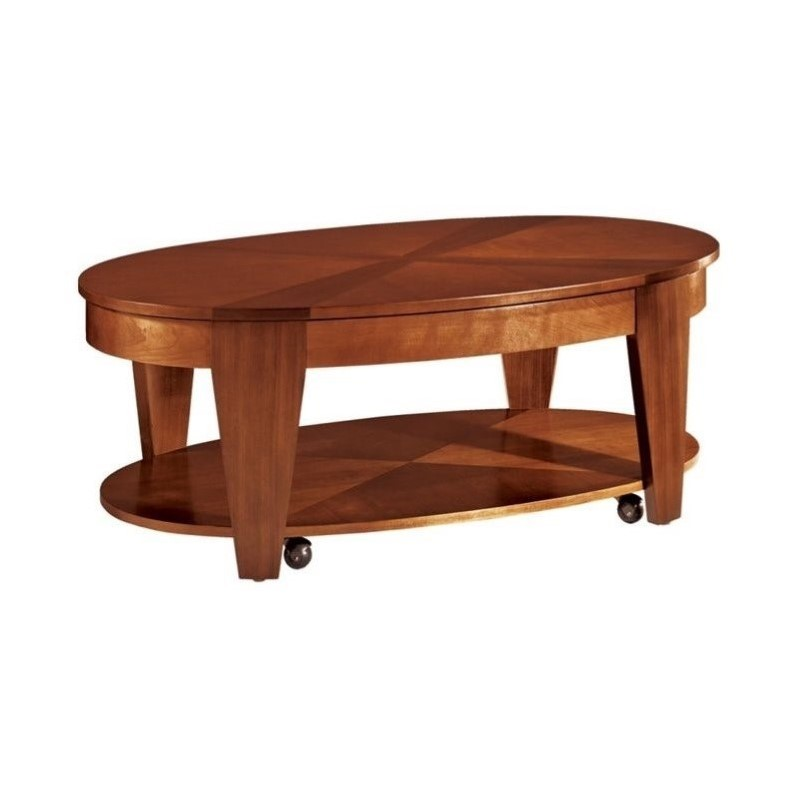 Hammary Oasis Oval Cocktail Table W Lift Top In Cherry Walnut T2003402 00