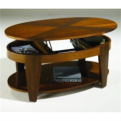 Hammary Oasis Oval Cocktail Table w/ Lift-Top in Cherry/Walnut