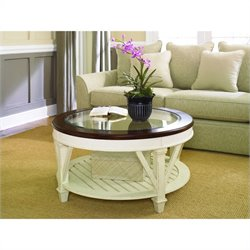 Hammary Promenade Round Cocktail Table in Fruitwood/Antique Linen