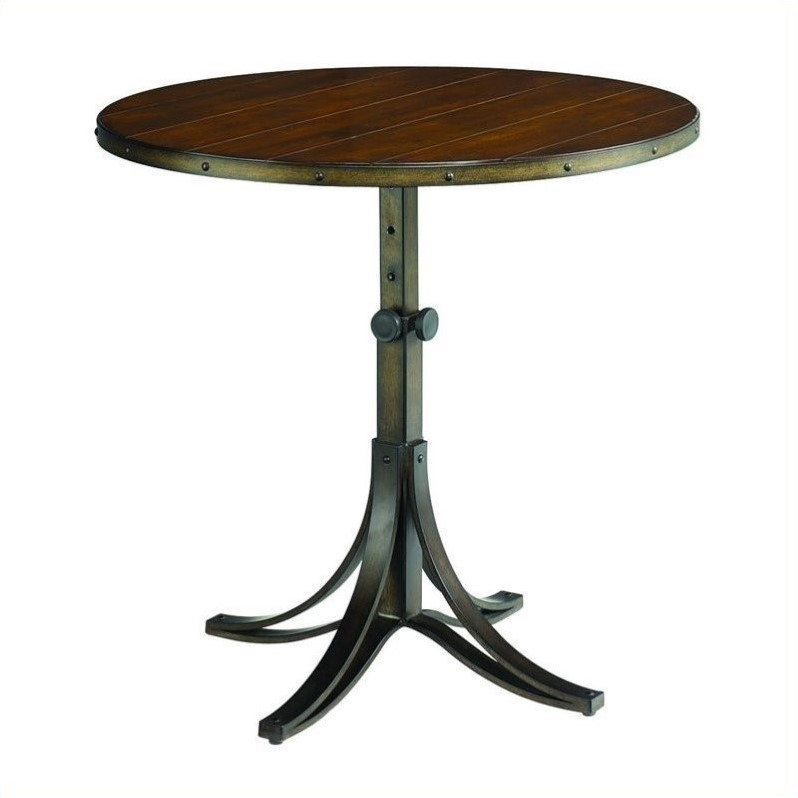 Hammary Mercantile Round Adjustable Accent Pedestal Table in Whiskey Finish