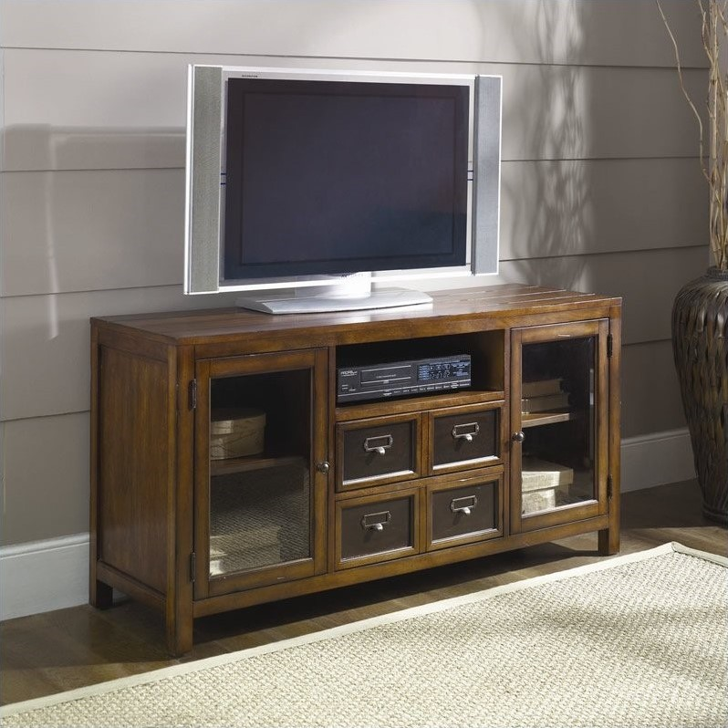 Mercantile Entertainment Console/TV Stand in Whiskey Finish