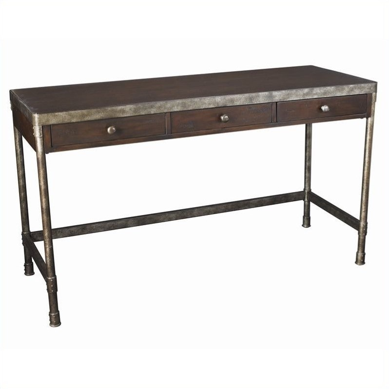 Structure Computer Desk in Distressed Brown