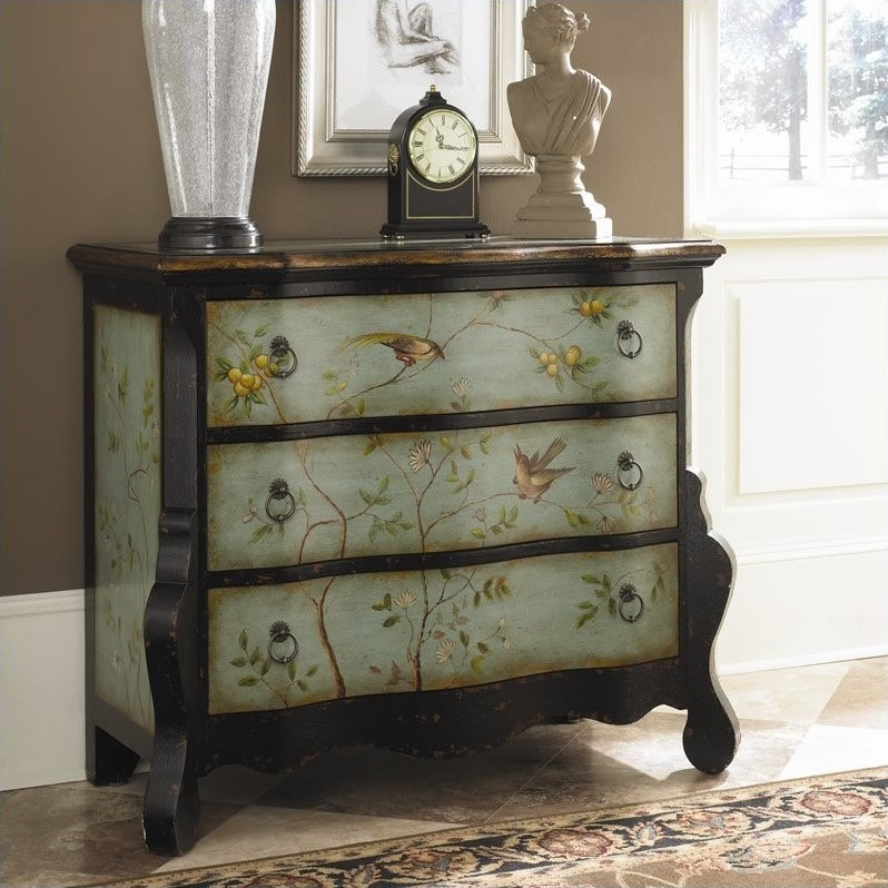 Hidden Treasures Accent Chest in Aqua and Black Finish