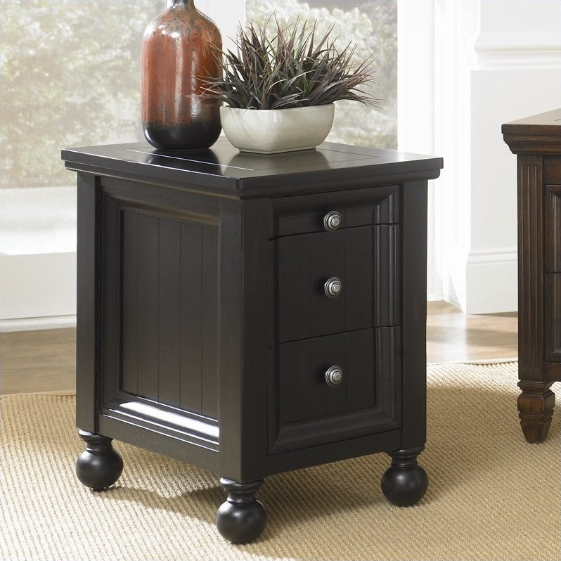 Hidden Treasures Chairside Table in Black Painted Finish