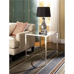 Hammary Mallory Rectangular End Table in Satin Nickel