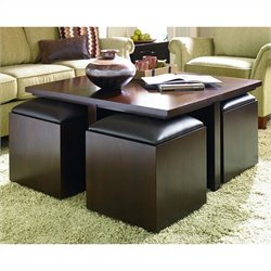 Hammary Cubics Square Cocktail Table in Rich Brown Java Finish