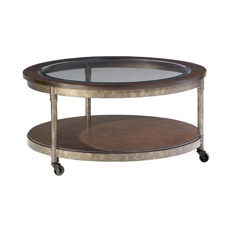 Hammary Structure Round Cocktail Table In Heavily