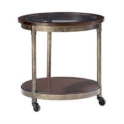 Hammary Structure Round End Table in Heavily Distressed Brown
