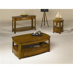 Hammary Primo 3pc Occasional Table Set in Medium Brown Finish