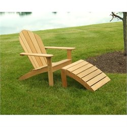 Three Birds Casual Adirondack Patio Chair and Footstool in Teak