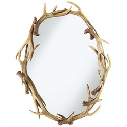 Pacific Coast Lighting Oval Antlers Decorative Mirror in Natural