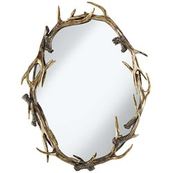 Pacific Coast Lighting Oval Antlers Decorative Mirror in Antique Gold