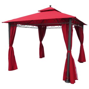 International Caravan St. Kitts Square Gazebo with Drapes in Ruby Red