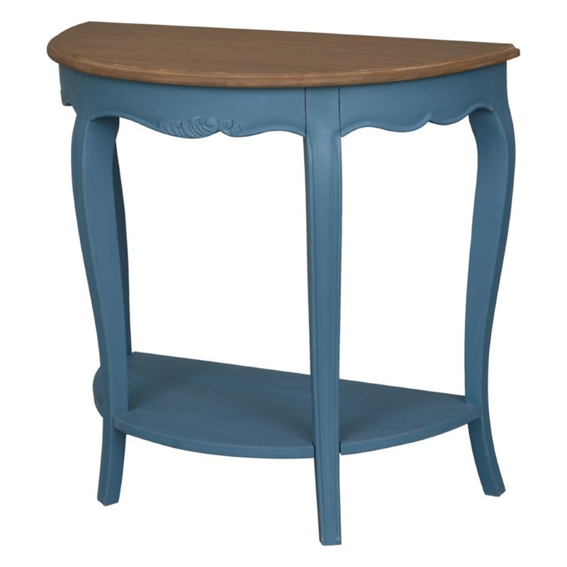 Ashbury Half Moon Console Table In Antique Blue