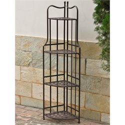Santa Fe Foldable Corner Bakers Rack in Matte Brown