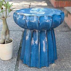 Catalina Round Scalloped Ceramic Garden Stool in Navy Blue